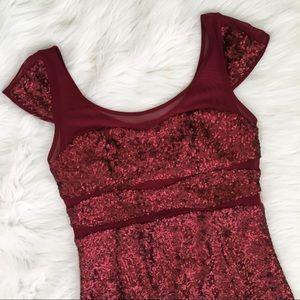 Betsey Johnson Wine Red Sequins Event Dress